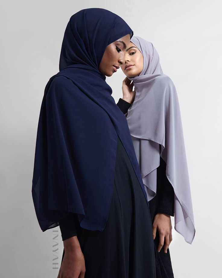 INAYAH | Natural fabrics and blends for a comfortable, modest fit - Long Black Maxi #Dress + Navy Soft Crepe #Hijab + + Mid-Grey Soft Crepe #Hijab www.inayah.co