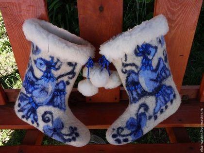 """Обувь ручной работы. Ярмарка Мастеров - ручная работа Валенки . Валенки для улицы. Валенки женские """"Синяя Птица.Гжель. Handmade."""