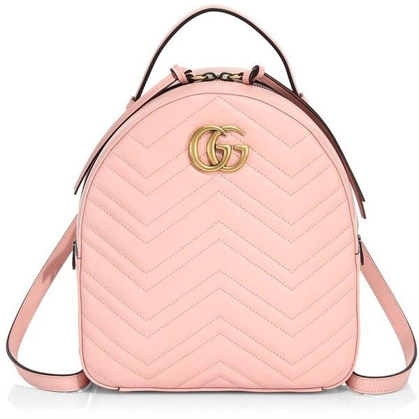 Gucci GG Marmont Chevron Quilted Leather Mini Backpack found on Polyvore featuring bags, backpacks, mini backpack, pink chevron backpack, gucci, pink bag and mini bags