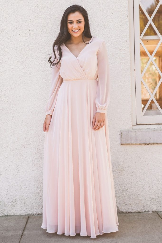7f9793e1f93 Juliet Long Sleeve Chiffon Dress in Barely Blush