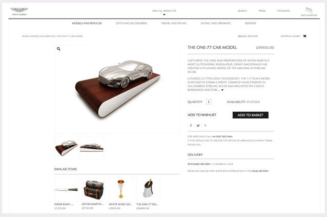 Aston Martin Ecommerce Website -  product page