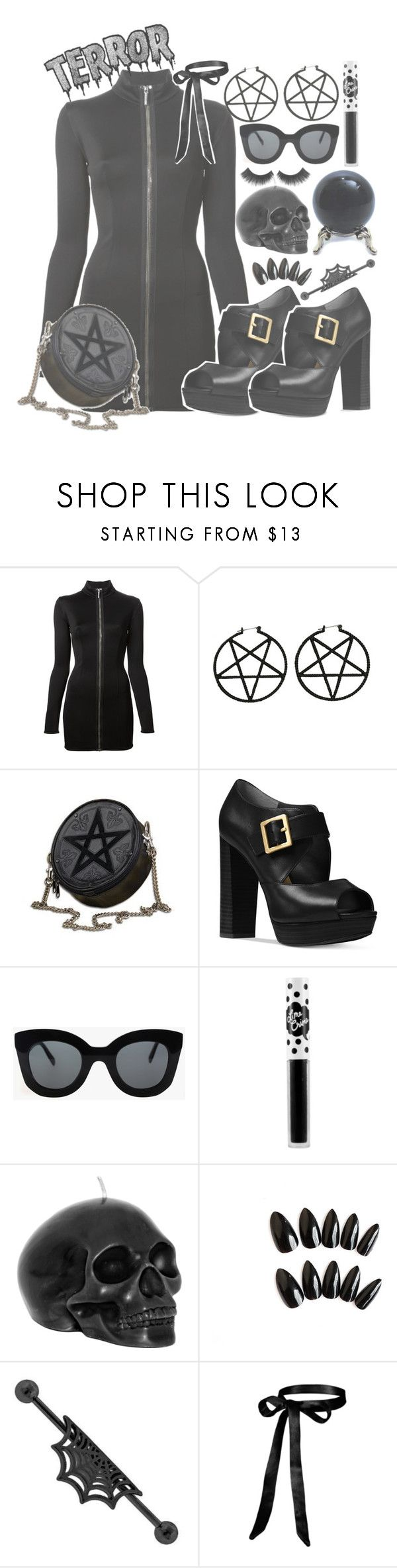 """""""Seta Nera//Sexy Goth Girl 👻"""" by drunk-inlove ❤ liked on Polyvore featuring Anthony Vaccarello, Michael Kors, CÉLINE and Lime Crime"""