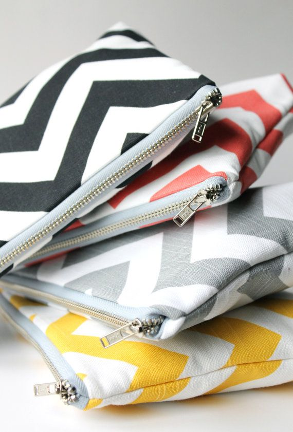Large Chevron Cosmetic Bags » Great for the bridesmaids!