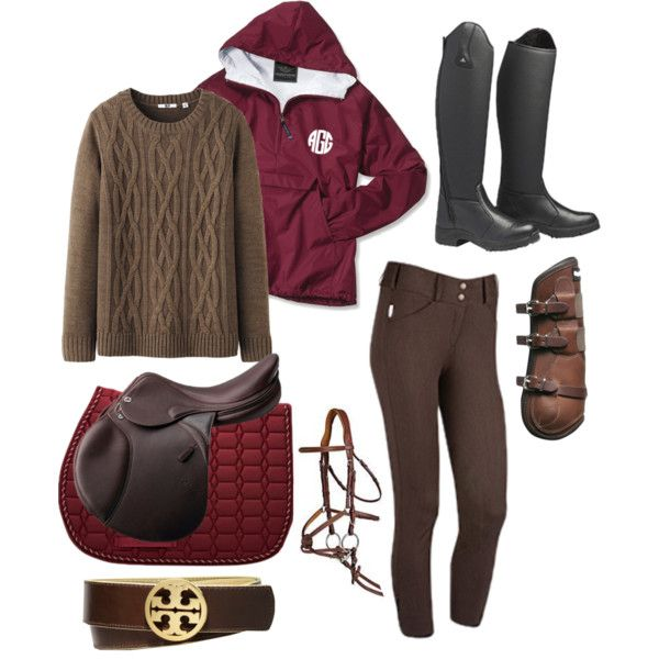 Red and Brown Horse and Rider Outfit