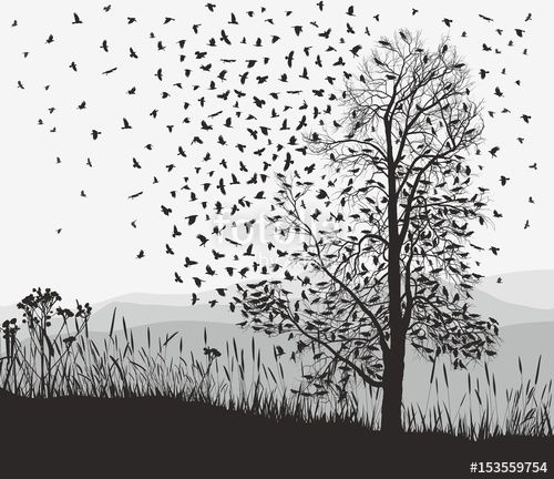 Vector: Crows in a tree chestnut