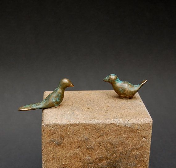 Two miniture bronze love birds modular accessory to by YennyCocq, $60.00
