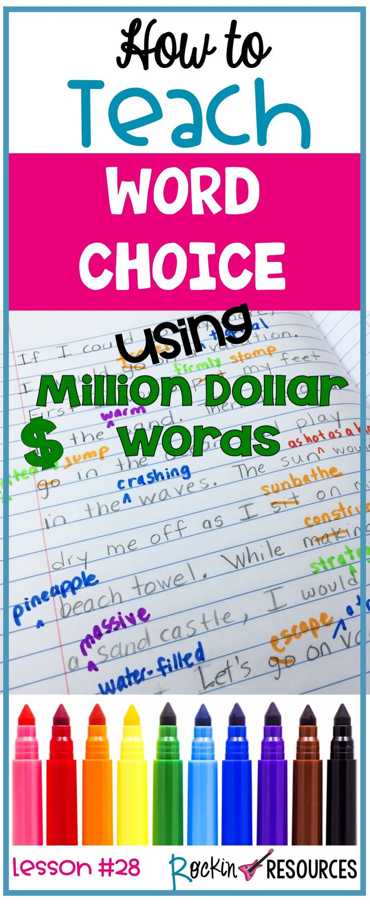 Do your students struggle using strong word choice in their writing? This post is geared towards the upper elementary or middle school curriculum and uses the term MILLION DOLLAR WORDS when referring to word choice. It is part of the revising stage of the writing process. It is also part of a series of writing mini lessons designed for scaffolding in writing workshop.