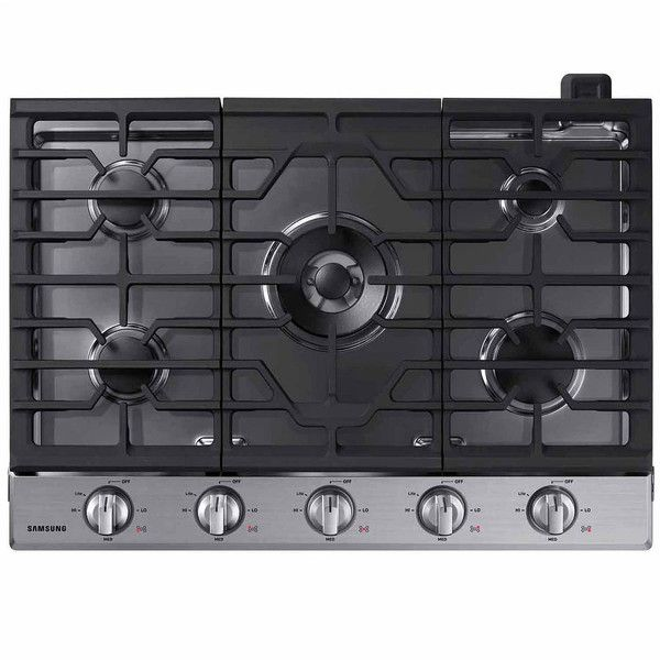 "Samsung 30"" Gas Cooktop with 19K BTU Power Burner (2.607.385 COP) ❤ liked on Polyvore featuring home, kitchen & dining, small appliances, cast iron griddle, burner griddle, samsung and propane griddle"