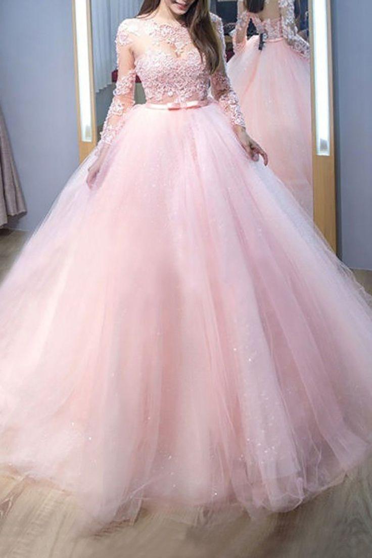 2019 Vestido de baile rosa Jewel Mangas compridas Sweep / Brush Train Renda Tule Vestidos de noite $ 179.51 SAPFJFBNQK   – 2019 Lange Abendkleider
