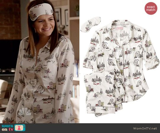 Annie's cities print pajamas on Marry Me.  Outfit Details: http://wornontv.net/44798/ #MarryMe