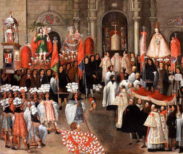 """Regreso de la procesión a la catedral. Serie """"Procesión del Corpus Christi""""-. 1680. Cuzco, M. DE ARTE RELIGIOSO.  Hubo procesiones que celebraban acontecimientos únicos y otras que todos los años recreaban el milagro de la religión. Una de estas últimas fue la del Corpus Christi (muy pronto se traslada a América). Los representantes de la ciudad estaban ubicados en el cortejo en función de su posición social. La presencia del rey podía añadir solemnidad."""