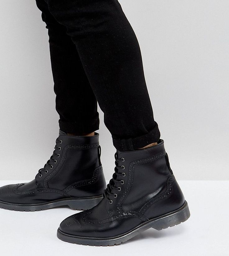 ASOS Wide Fit Brogue Boots In Black Leather With Ribbed Sole - Black