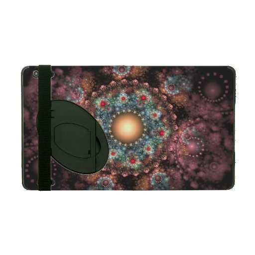 Ornate Brooch #abstract #fractal #artwork with extraordinary color palette - turquoise, red, orange, mauve - and details. Looks like a richly adorned #jewel. (Powis iCase #iPad Case with Kickstand)   $95.25