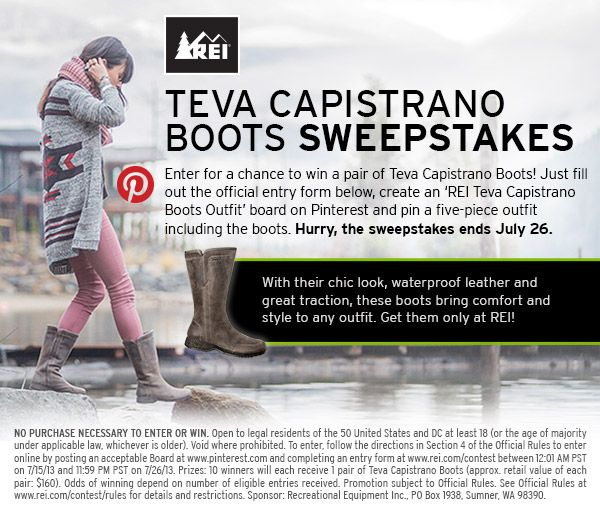 Enter for a chance to win a pair of Teva Capistrano Boots! Here's the scoop http://www.rei.com/contest