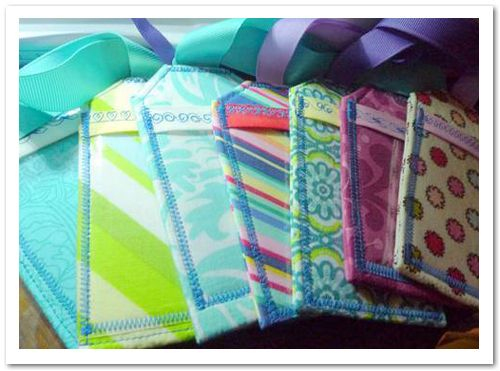 Homemade luggage tags out of fabric scraps