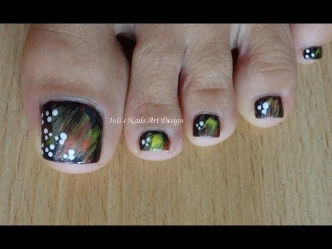 ▶ Toes art design using a real feather as a nail art brush - TUTORIAL FALL TOE NAIL ART BEGINNERS - YouTube