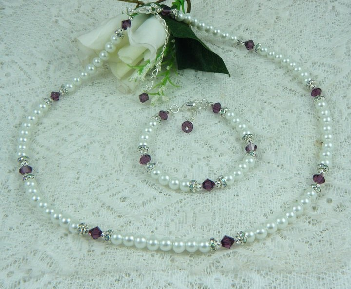 White Pearls and Swarovski Amethyst Crystals