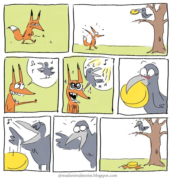 Parodie: Le Corbeau et le Renard et le Fromage - after reading the actual fable, have students rewrite the story with a partner by describing the pictures in their own words
