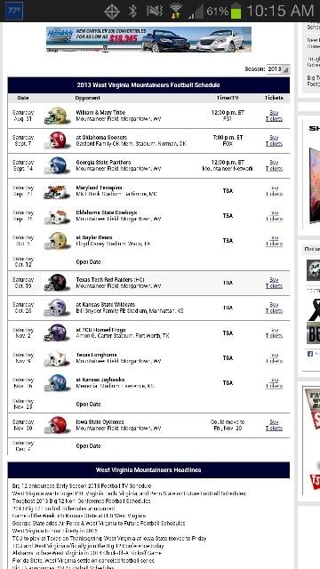 WVU schedule