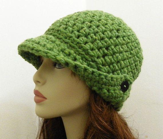 Crochet Cap : PDF Crochet Hat Pattern - Chunky Winged-Brim Beanie Cap -Womens Hat C ...