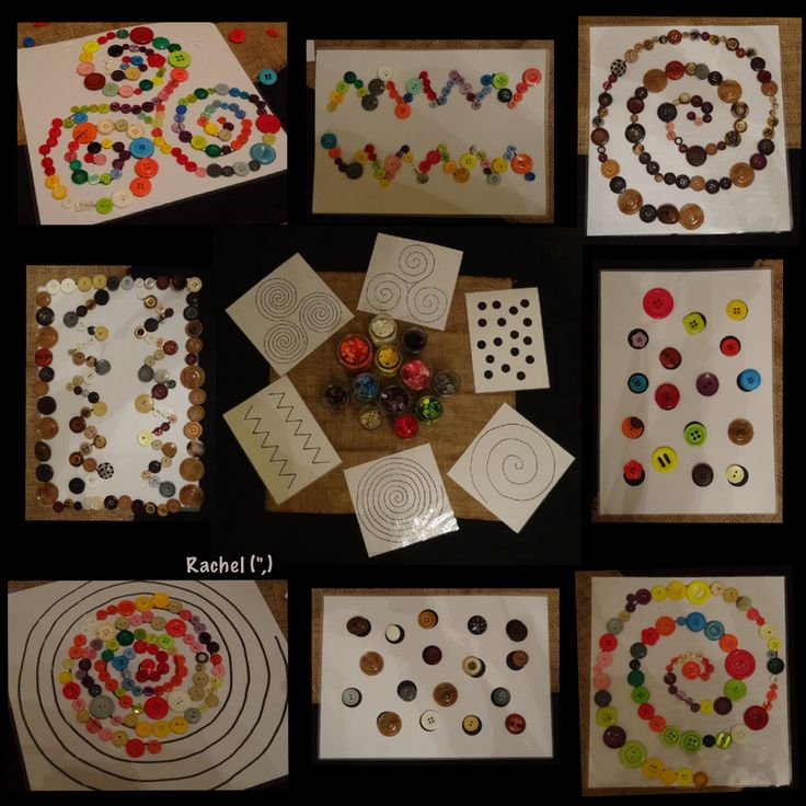 "Fine motor skills and hand-eye coordination with spirals and other patterns with buttons (patterns free to download) - from Rachel ("",)"