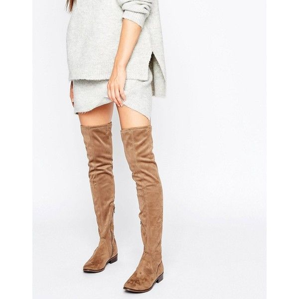 ALDO Elinna Flat Over The Knee Boots ($94) ❤ liked on Polyvore featuring shoes, boots, beige, flat over knee boots, over the knee boots, thigh high boots, thigh high leather boots and over the knee leather boots