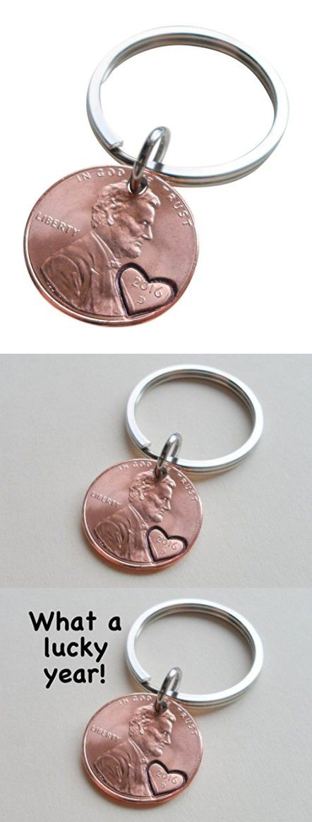 2016 Penny Keychain with Heart Around Year; 1 Year Anniversary Gift, Couples Keychain