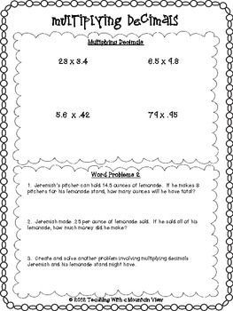 FREE Multiplying Decimals Quiz or Review and Answer Key - Teaching With a Mountain View - TeachersPayTeachers.com