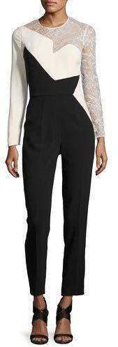 Elie Saab Lace-Inset Long-Sleeve Jumpsuit, Black/White