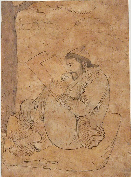 Seated Man Painting or Writing, first half 17th century , Isfahan, Ink and opaque watercolor on paper