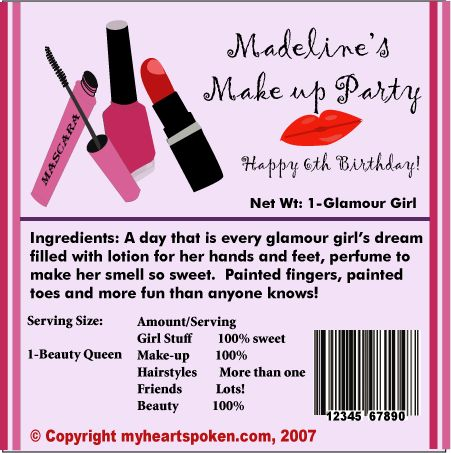 Girls makeup party candy wrappers   Girly Science   Candy party, Party Makeup, Little girls makeup