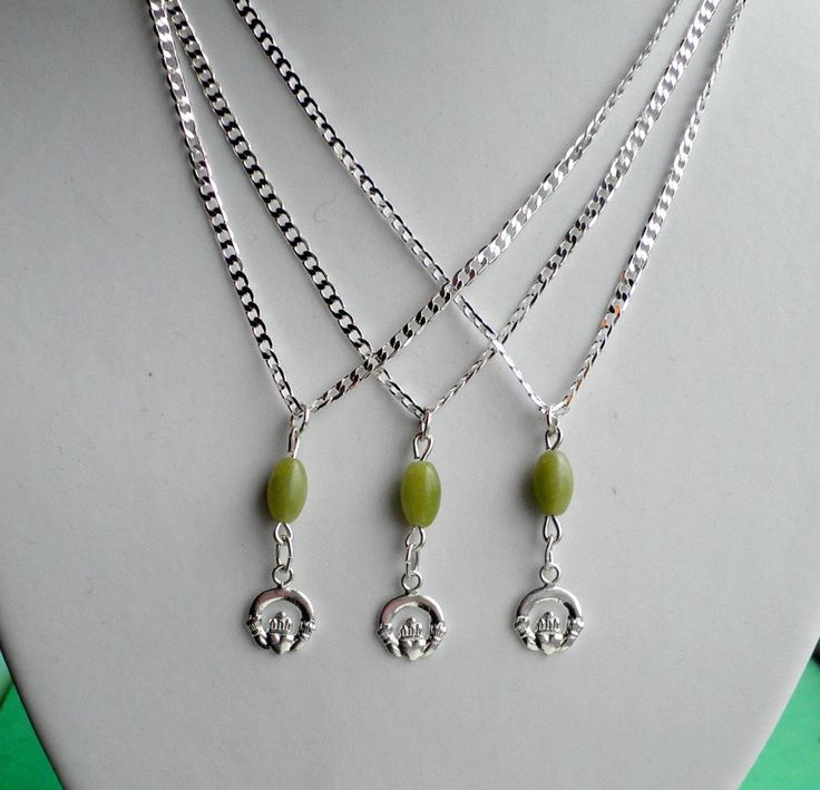 Ireland Themed Set of 3 Bridesmaids Necklaces, Claddagh ring charm .925 Silver with Connemara Marble rice beads Sterling Silver Chain by VintageIrishDresser on Etsy
