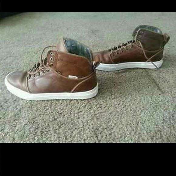 Leather vans high tops otw Brand new real leather high top vans! Vans Shoes