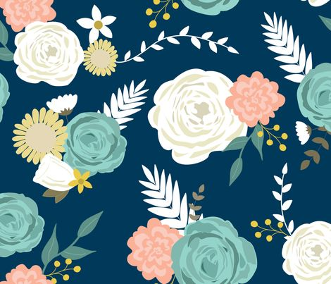Large summer blooms navy fabric by >>mintpeony<< on Spoonflower - custom fabric