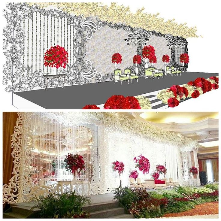 Design & Real of #ryureiwedding #weddingsketch #weddingsketchup #weddingsketch3d #weddingdrawing #weddingdrawing3d #weddingdesign #weddingdecoration #weddingdecor #weddingideas #whiteredwedding #weddingday #elssydesign  (at Ritz Carlton)