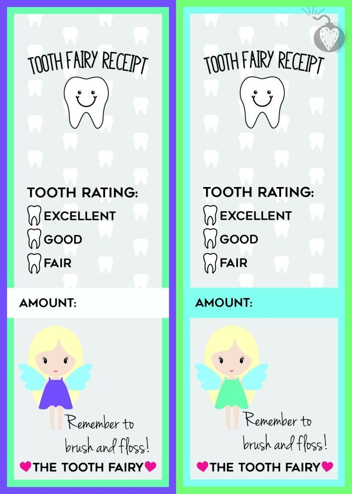 Slobbery image with free printable tooth fairy receipt