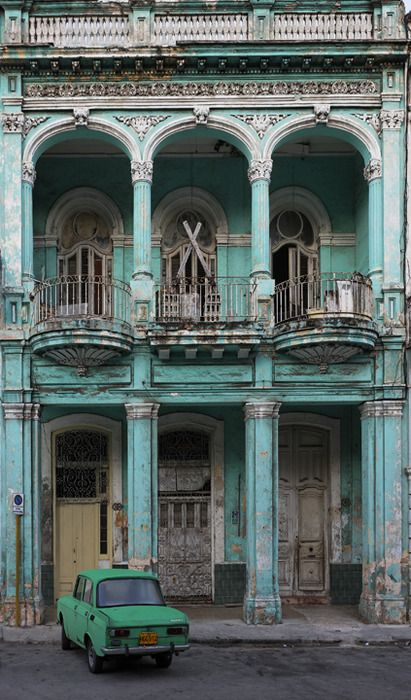 Havana, Cuba: Buckets Lists, Color, Green Cars, Travel, House, Havanacuba, Paris Hotels, Havana Cuba, Old Building
