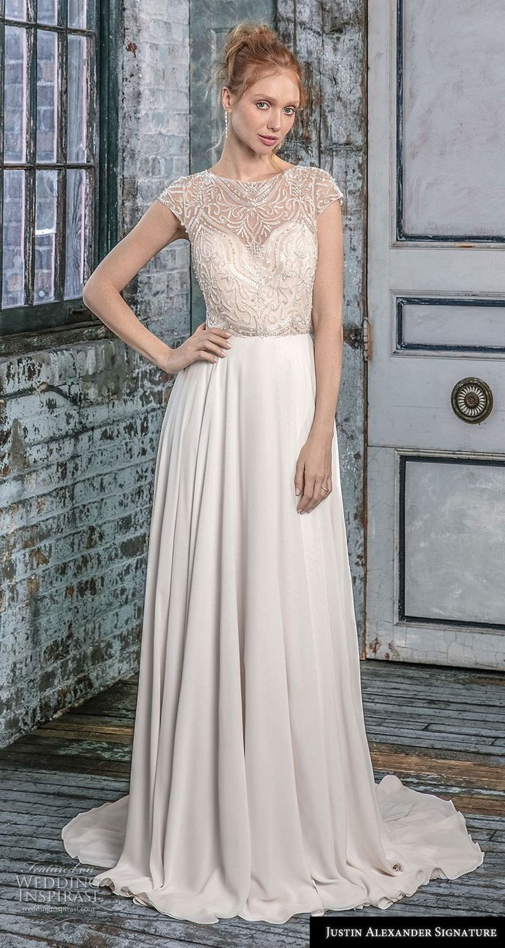 Ronald joyce lace wedding dress september 2018  best Wedding dresses images on Pinterest  Short wedding gowns