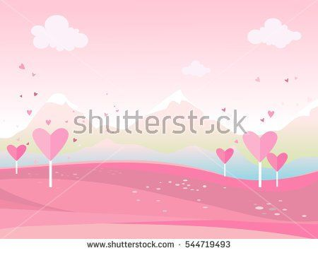 Векторные иллюстрации мультфильм пейзажа. Пейзаж с сердечками День Святого Валентина. Для печати или веб-графический дизайн, пользовательский интерфейс, карта, плакат.