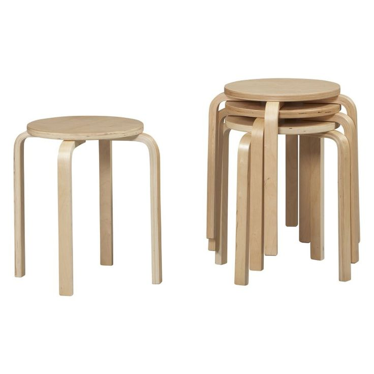 Linon Bentwood Stackable Short Stool - 17 in. - Set of 4 Natural - 1771NAT-04-AS-U