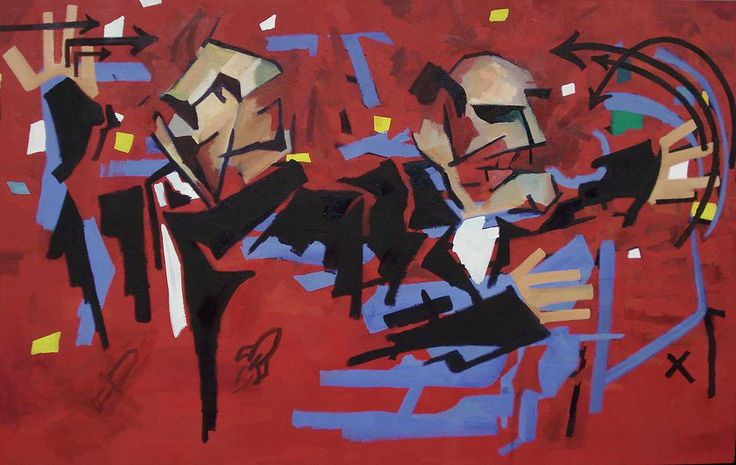 """LISTEN!, Tyrone Rogers, 2015, oil on canvas, 58"""" x 36""""    Debate argument red and blue"""