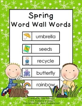 This free download includes 35 printable spring word wall words!  Use them on a seasonal word wall for journal writing, word scrambles, and creative writing!  This set includes words for March, April and May.