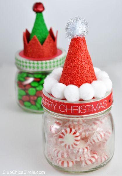 Lembrancinhas de Natal com potinhos de vidro são lindas e encantam a adultos e crianças (Foto: club.chicacircle.com)