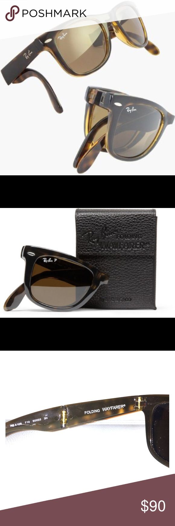 Ray- Ban Wayfarer Folding Sunglasses Ray-Ban Wayfarer Folding Classic RB4105 sunglasses provide a practical, portable and always in-style look. Modeled from the Original Wayfarer Classic , the iconic Wayfarer has been constructed into a compact, folding style letting you be practicably fabulous. Color is tortoise shell. Comes with original case and polishing cloth. Ray-Ban Accessories Sunglasses