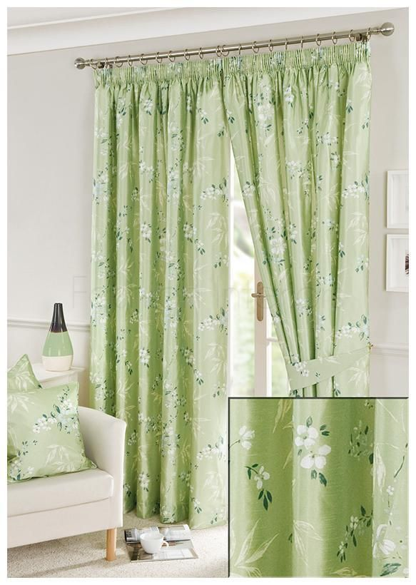 Pavilion Kyoto Green Lined Pencil Pleat Curtains 230cm Wide