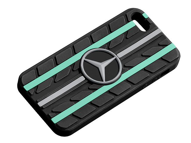 Sleeve for iPhone B67995252  Perfect for any motor racing fan's iPhone : this silicone sleeve with its unusual tyre tread design is suitable for the iPhone 5 and iPhone 5S. It features one silver-coloured and two Petronas green accent stripes. There is also a large, central 3D star logo. - Colour: black - Silicone - Tyre tread design