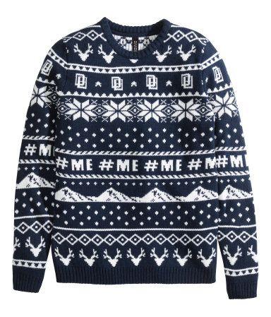 Dark blue Jacquard-knit sweater - H&M // $35