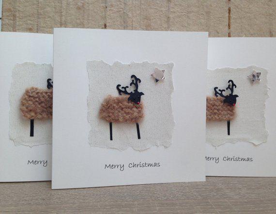 Personalised Hand Stitched RUDOLF Novelty Christmas card