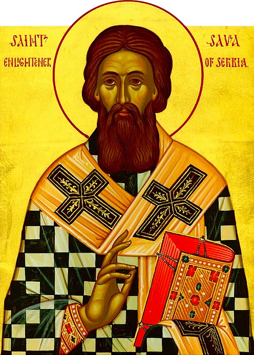 Son of the Grand Prince of Serbia, Saint Sava (12th cent) became governor of Herzegovina at 15, but, wanting to dedicate his life to God, fled to Mount Athos. Before his father's soldiers reached the area, he had become a monk. His father joined him, becoming a monk also (Saint Symeon the Myrrh-Streaming). After his father's death, Saint Sava made peace between his brothers, who fought for succession, and became the first Archbishop of Serbia. He is celebrated Jan 14.