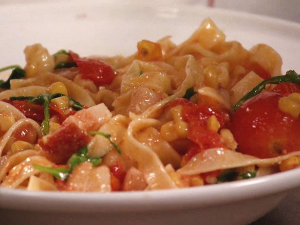 Tagliatelle with Bacon, Burst Cherry Tomatoes and Arugula Recipe : Food Network - FoodNetwork.com